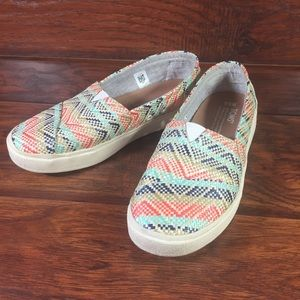 Toms Woven Flats Loafer Shoes W 5.5 Beige Blue